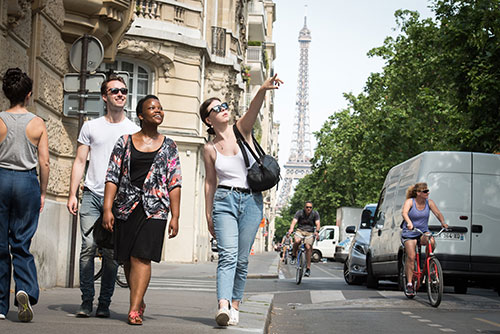 Students walking on the strrets of Paris
